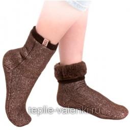 Носки эластичные шерстяные коричневые Артикул N204
