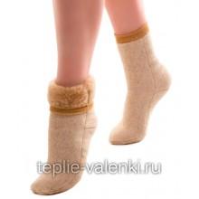 Носки эластичные шерстяные бежевые Артикул N205