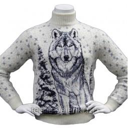 Свитер с волком из шерсти ламы Артикул SVI123
