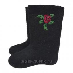 "Валенки черные с вышивкой ""Роза"" Артикул J136B"