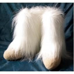Меховые валенки Валенки длинные длинноворсовые белые (самовалки)