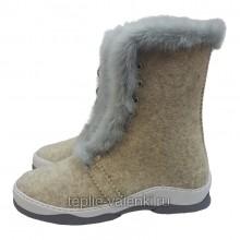 Войлочные ботинки со шнуровкой серые Артикул V421