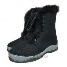 Войлочные ботинки черные со шнуровкой Артикул V422