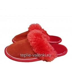 Тапочки красные из шерсти мутона Артикул T305