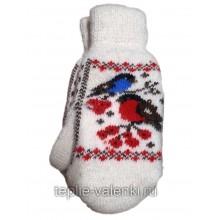 Варежки женские со снегирем Артикул R110