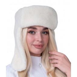 Шапка ушанка белый цвет Артикул S732