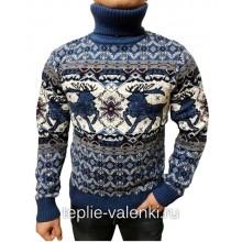 Свитер с оленями мужской синий Артикул SVI101