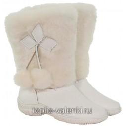 Унты женские белые кожаные Артикул U336