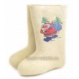 Валенки светлые Дед Мороз Артикул D228
