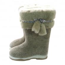 Валенки натуральные серые с мехом Артикул J104P