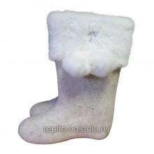 Валенки белые с опушкой Артикул J129B