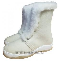 Войлочные ботинки со шнуровкой белые Артикул V420